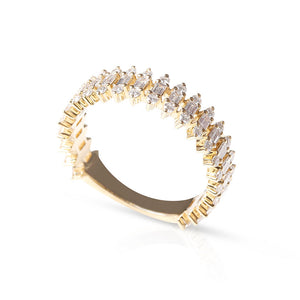14K GOLD BAGUETTE AND BRILLIANT DIAMOND RING