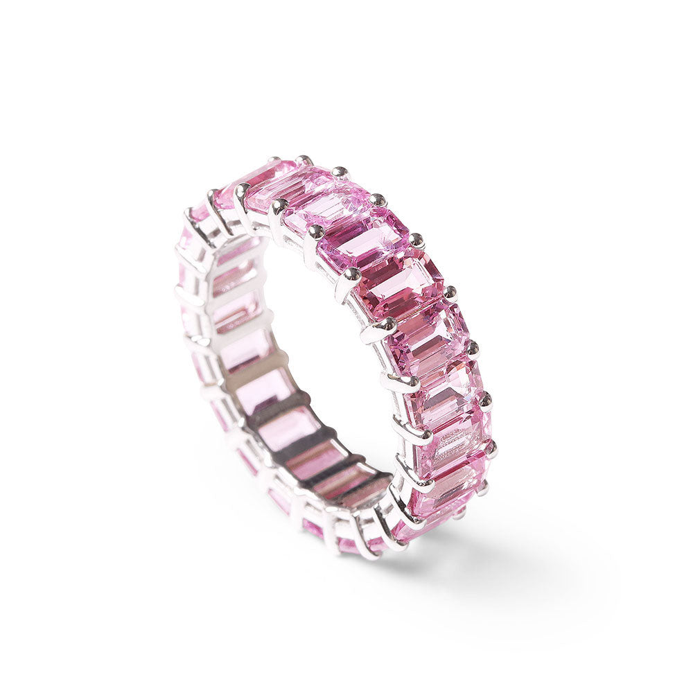 PINK SAPPHIRE EMERALD CUT ETERNITY BAND
