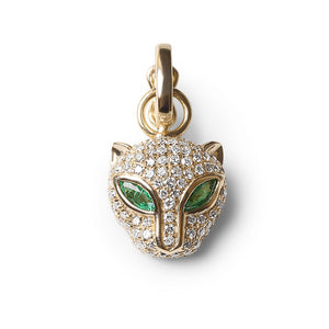 DIAMOND AND EMERALD JAGUAR CHARM WITH CONNECTOR