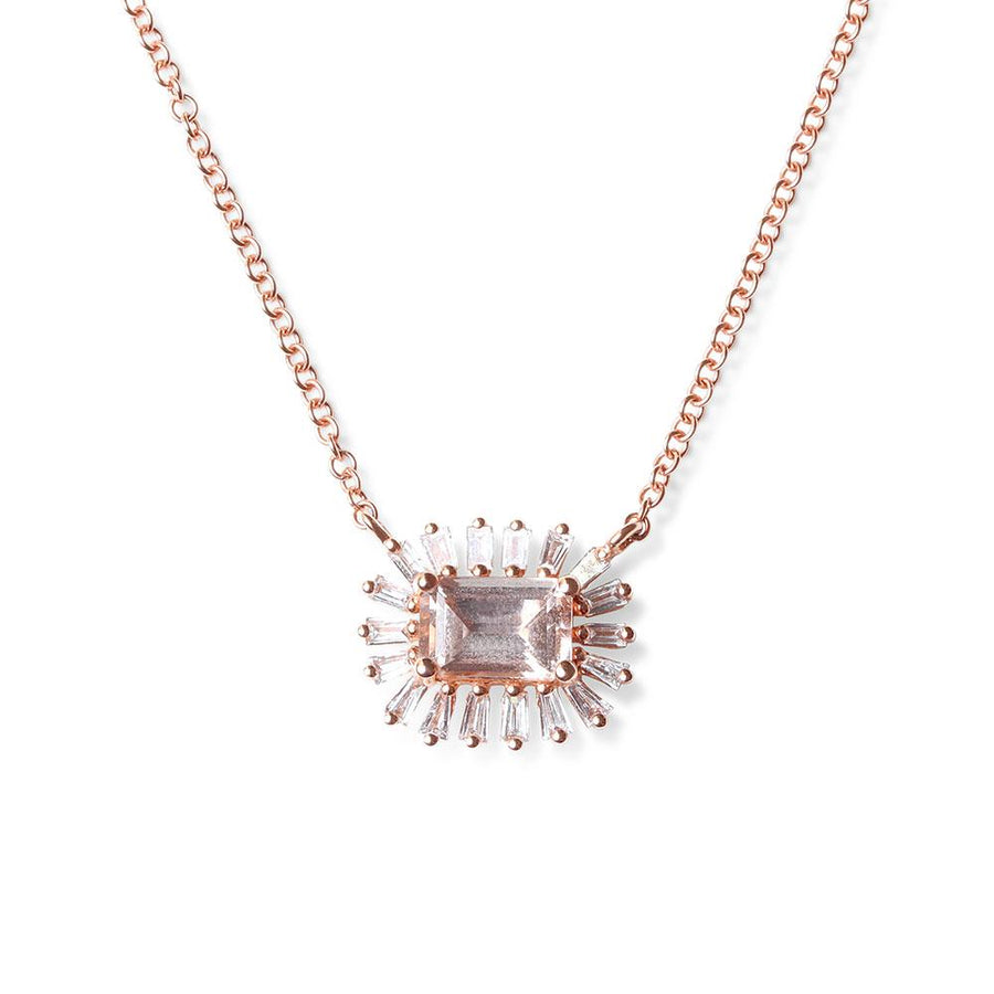 BAGUETTE DIAMOND AND MORGANITE NECKLACE