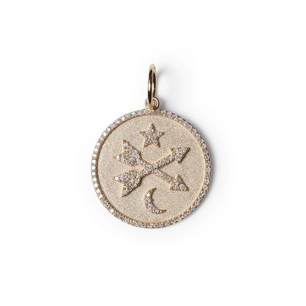 DIAMOND CROSSED ARROWS TALISMAN WITH STAR AND MOON
