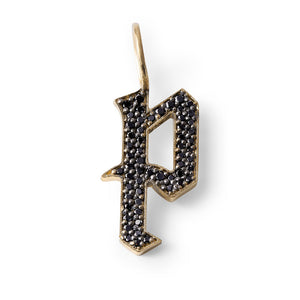 14K GOLD BLACK DIAMOND GOTHIC LETTER P
