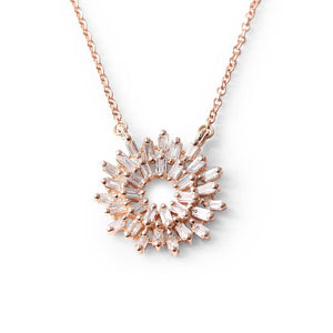 14K ROSE GOLD BAGUETTE DIAMOND NECKLACE