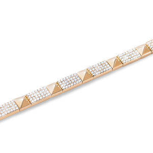 14K GOLD DIAMOND PYRAMID STUD BRACELET
