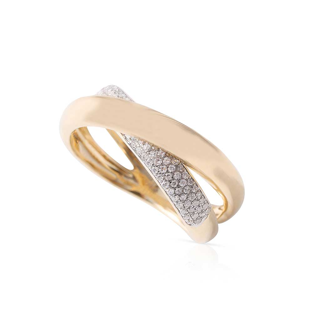 DOUBLE CRISSCROSS GOLD AND DIAMOND RING