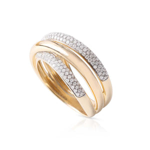QUAD CRISSCROSS GOLD AND DIAMOND RING