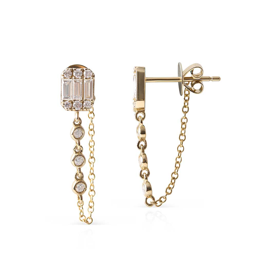 BAGUETTE AND BRILLIANT CUT DIAMOND CHAIN EARRINGS