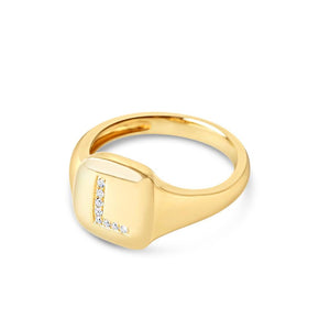 14K GOLD MONOGRAM DIAMOND INITIAL SIGNET RING
