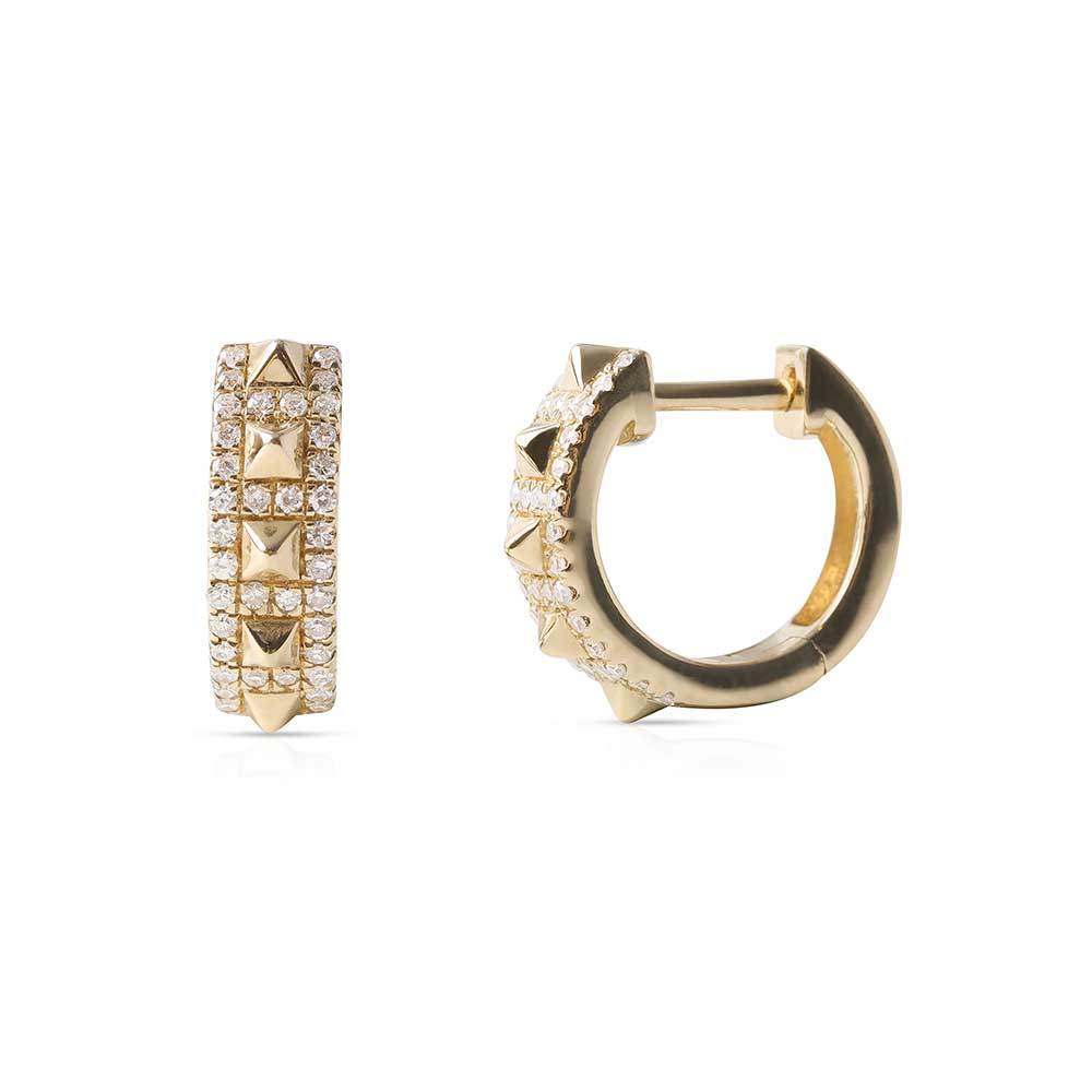 14K AND DIAMOND STUD HUGGIE EARRINGS