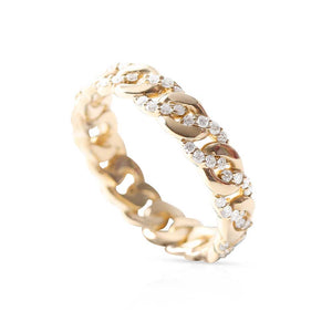 14K GOLD  CUBAN LINK RING WITH BRAIDED DIAMONDS