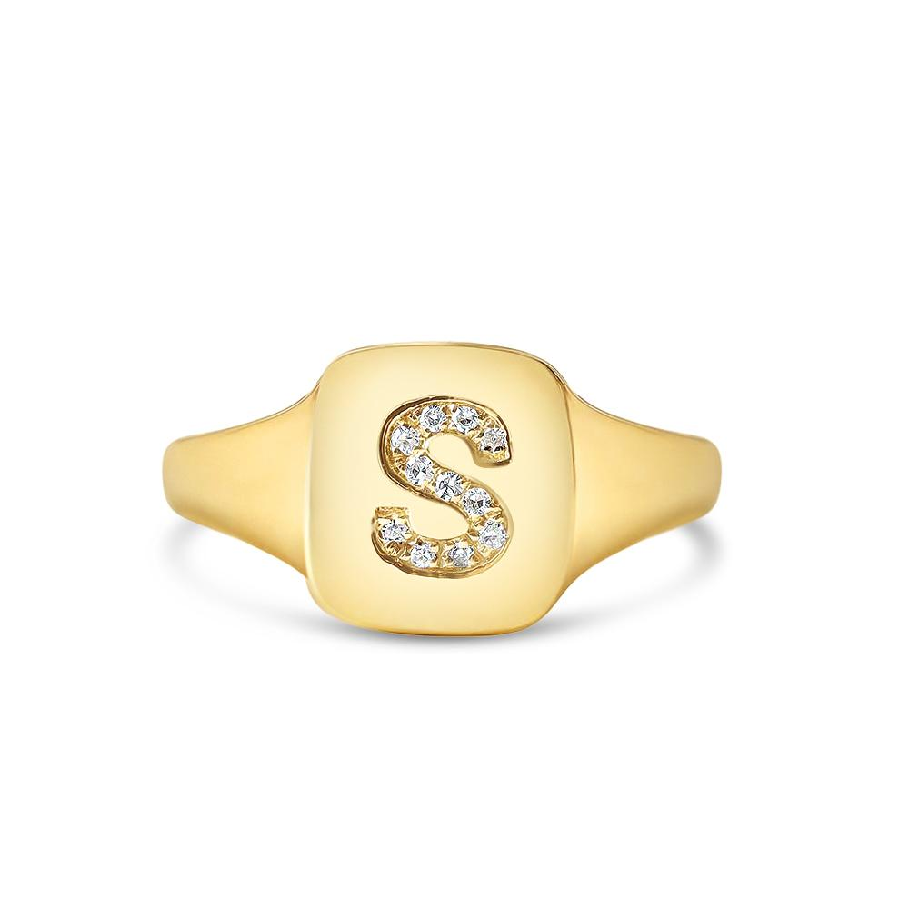 PERSONALIZED DIAMOND INITIAL SIGNET RING