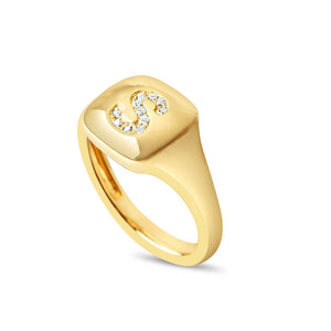 14K GOLD PERSONALIZED DIAMOND INITIAL SIGNET RING