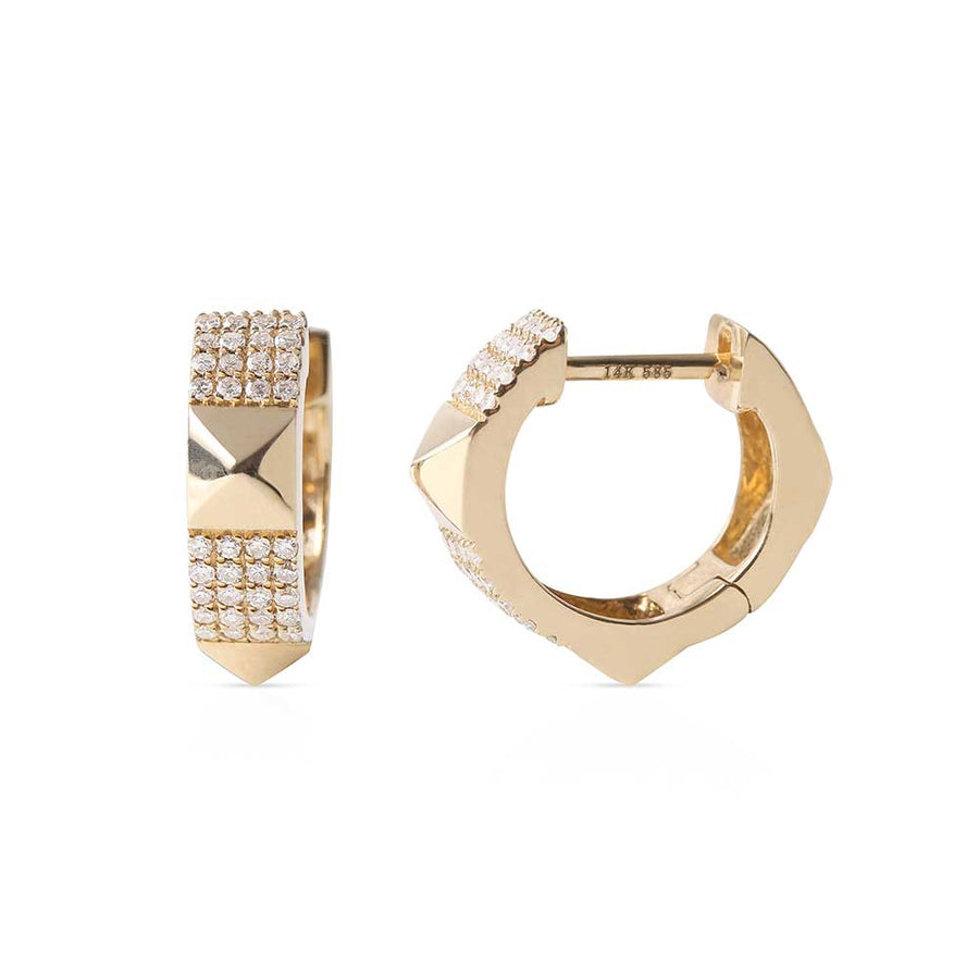 14K GOLD AND DIAMOND STUD HUGGIES