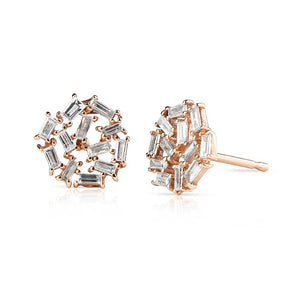 Baguette Diamond and Rose Gold Earrings