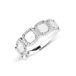 SQUARE SLICED DIAMOND RING WITH PAVÉ SURROUND
