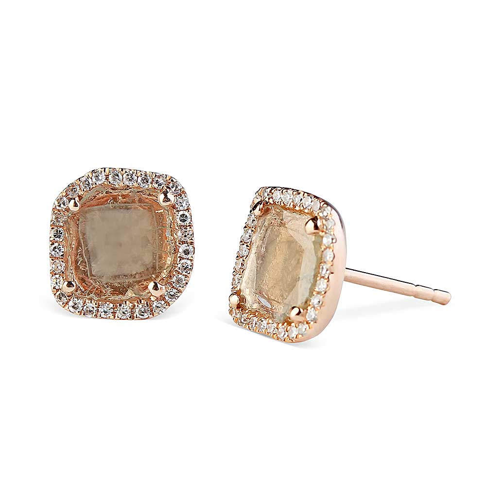 Sliced Diamond Rose Gold Studs