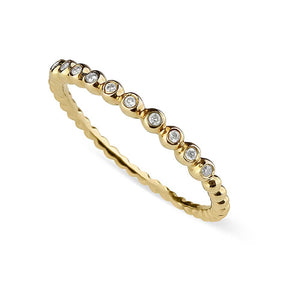 GOLD AND DIAMOND BEADED STACKER