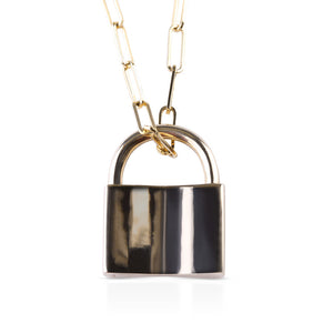 SOLID 14K GOLD LOVE LOCK ON SIGNATURE PAPERCLIP CHAIN