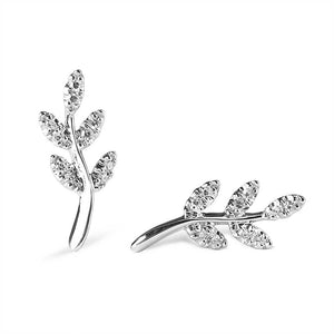 Diamond Olive Branch Earrings