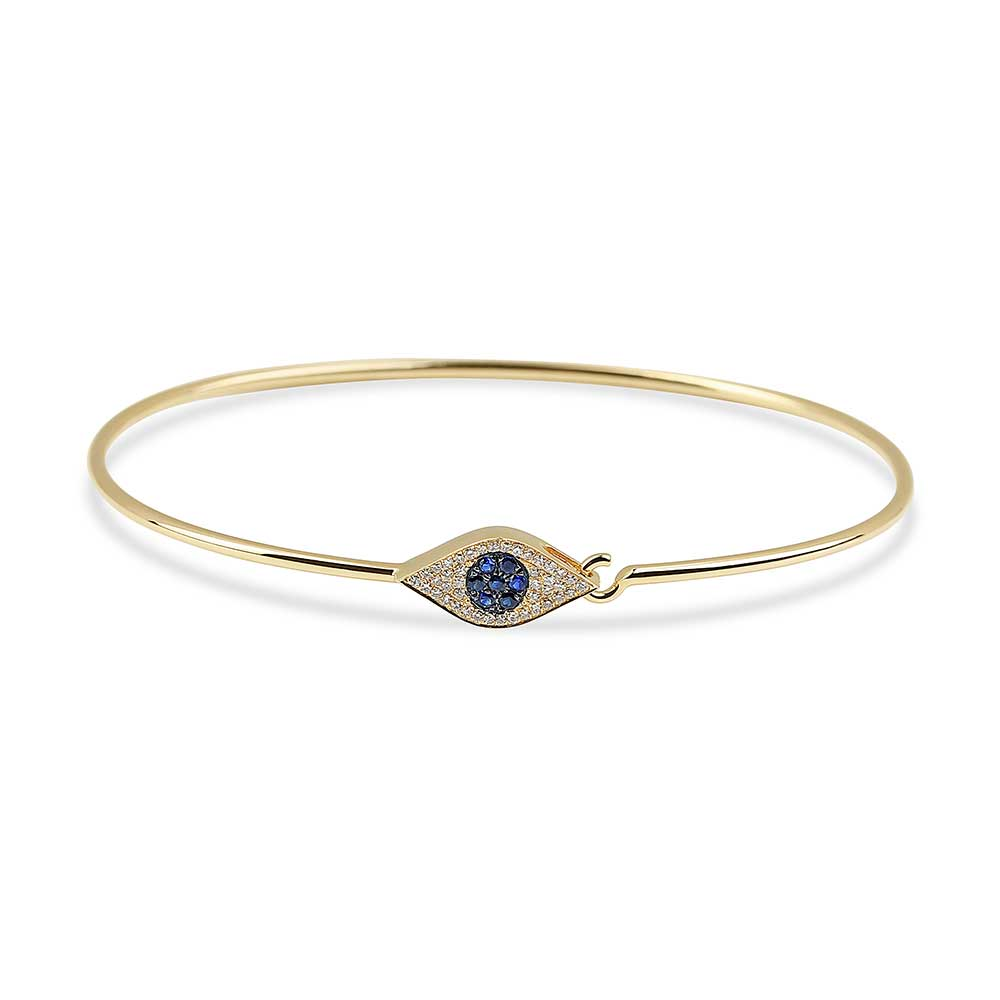 DIAMOND AND SAPPHIRE EVIL EYE BANGLE