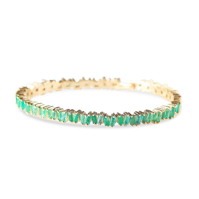 HALF EMERALD BAGUETTE PICKET BANGLE