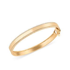 YELLOW GOLD DIAMOND CIGAR BAND BANGLE