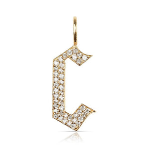 WHITE DIAMOND LETTER  C CHARM