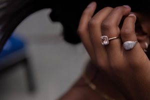 Morganite with diamond ring