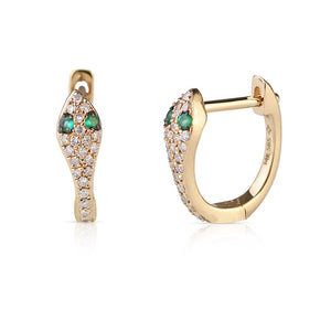 YELLOW GOLD EMERALD AND DIAMOND SNAKE HUGGIE EARRINGS