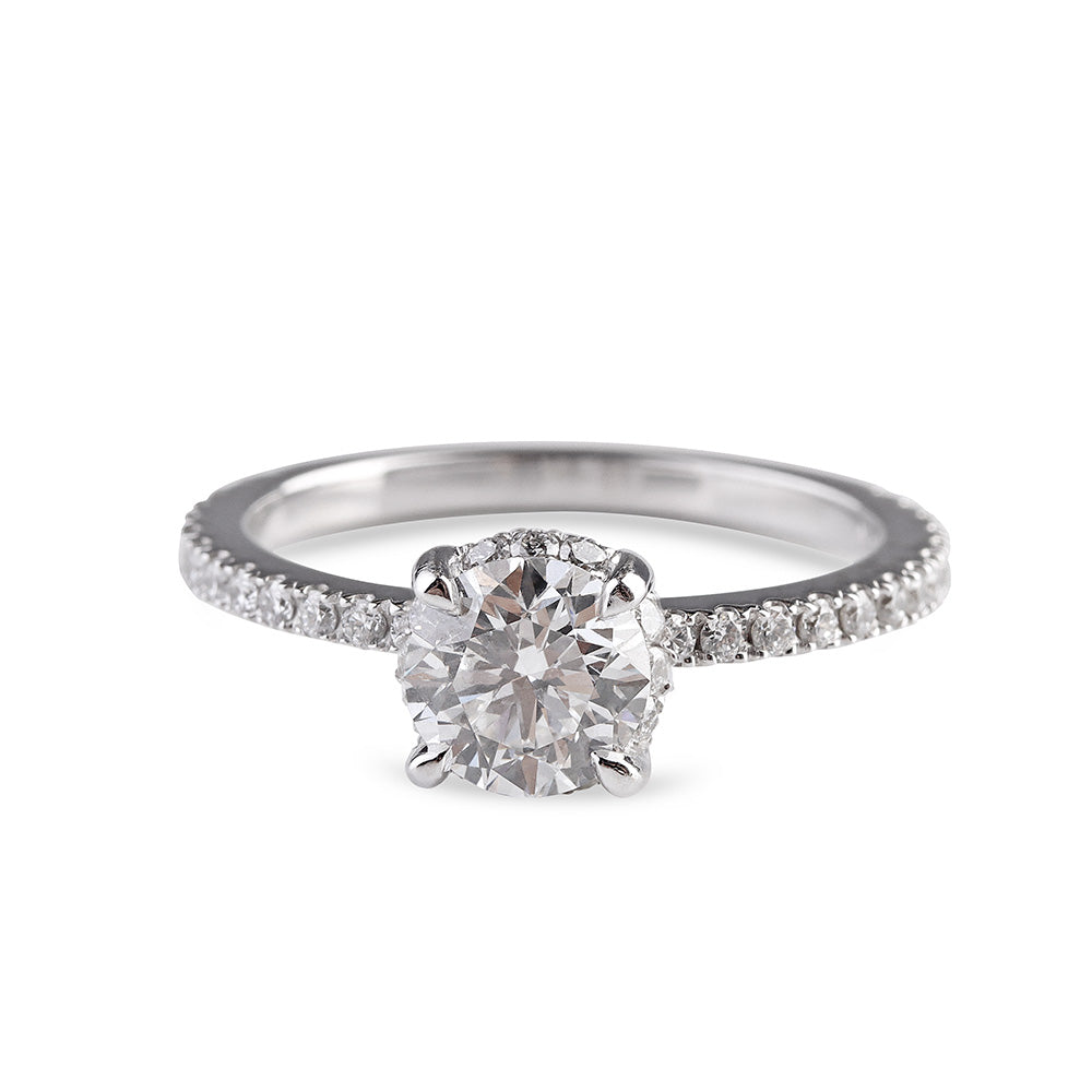 MICRO-PAVÉ ENGAGEMENT RING WITH HIDDEN DIAMOND SCARF