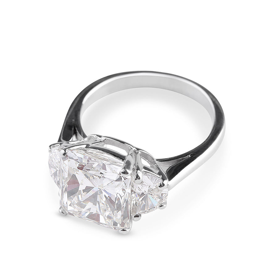 THREE STONE RADIANT CUT DIAMOND ENGAGEMENT RING