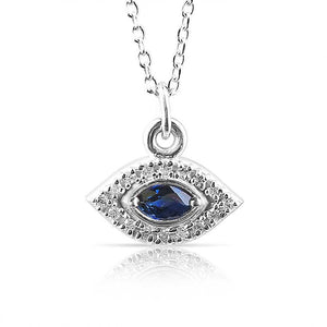WHITE GOLD DIAMOND EVIL EYE NECKLACE WITH SAPPHIRE EYE
