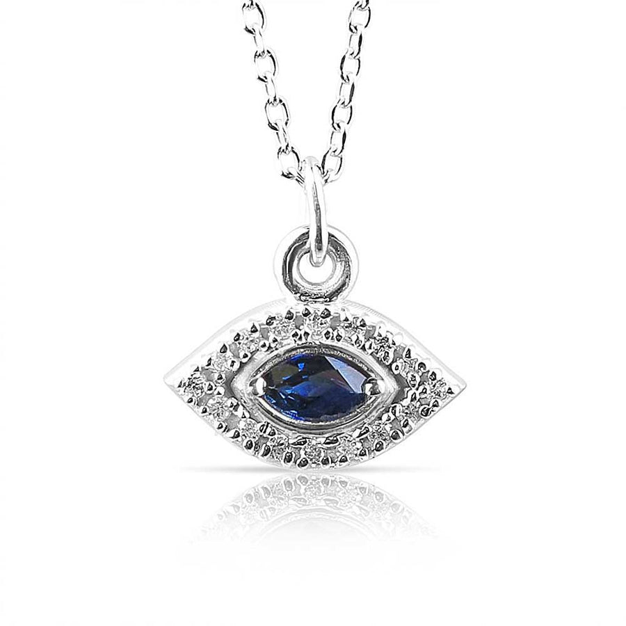 DIAMOND EVIL EYE NECKLACE WITH SAPPHIRE EYE