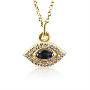 PAVÉ EVIL EYE NECKLACE WITH SAPPHIRE EYE