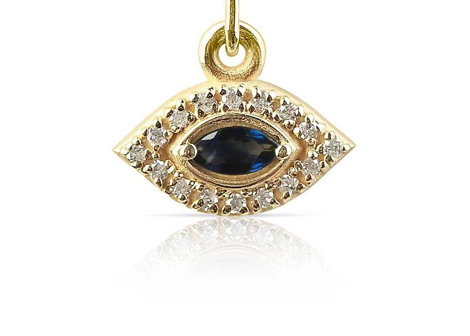 Diamond Evil Eye Charm with Sapphire