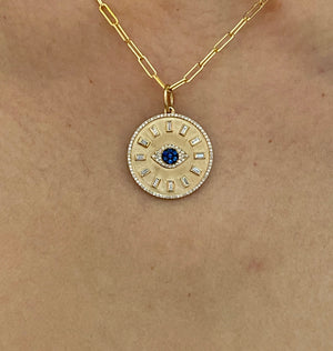 PEACE & PROTECTION BAGUETTE DIAMOND AND SAPPHIRE  EVIL EYE TALISMAN