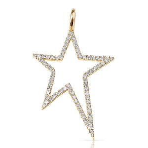 Yellow Gold and Diamond Bowie Star Charm