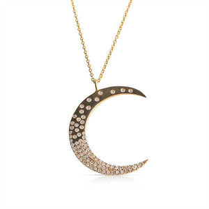CELESTIAL SCATTERED DIAMOND MOON NECKLACE