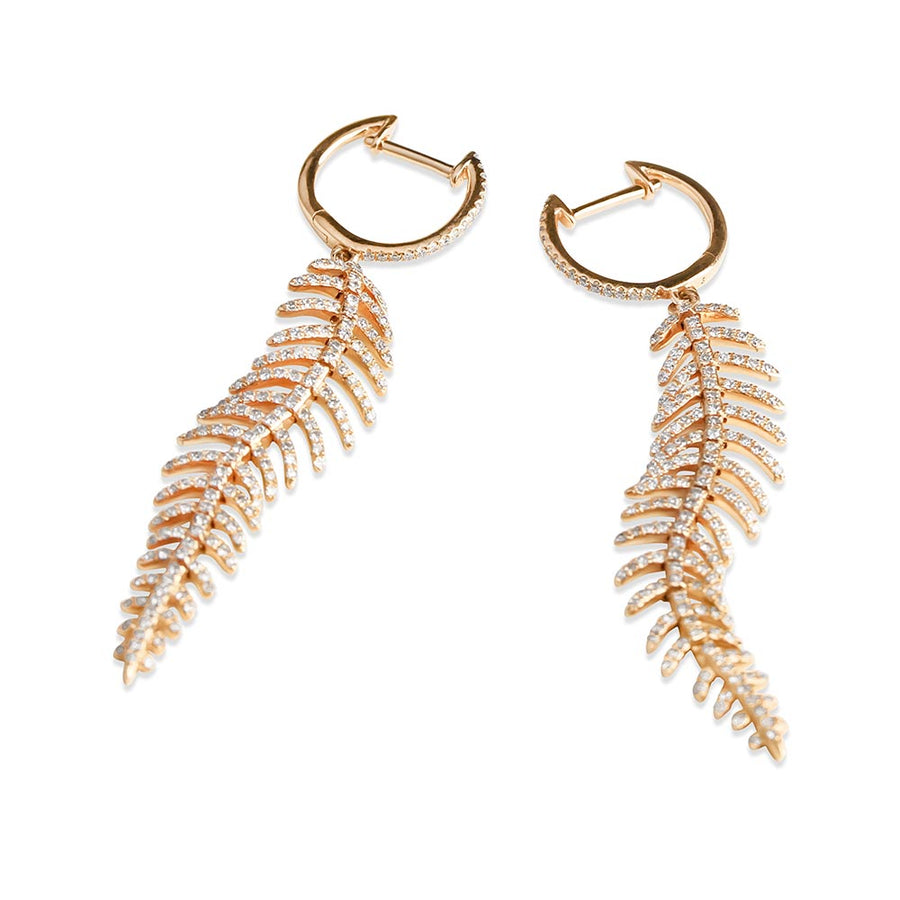 DIAMOND FEATHER DROP EARRINGS