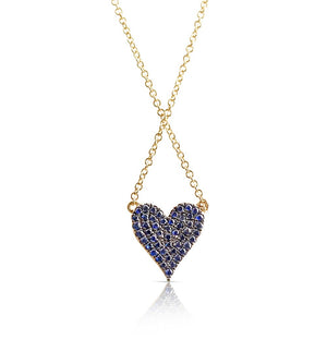 SAPPHIRE AND DIAMOND REVERSIBLE HEART NECKLACE