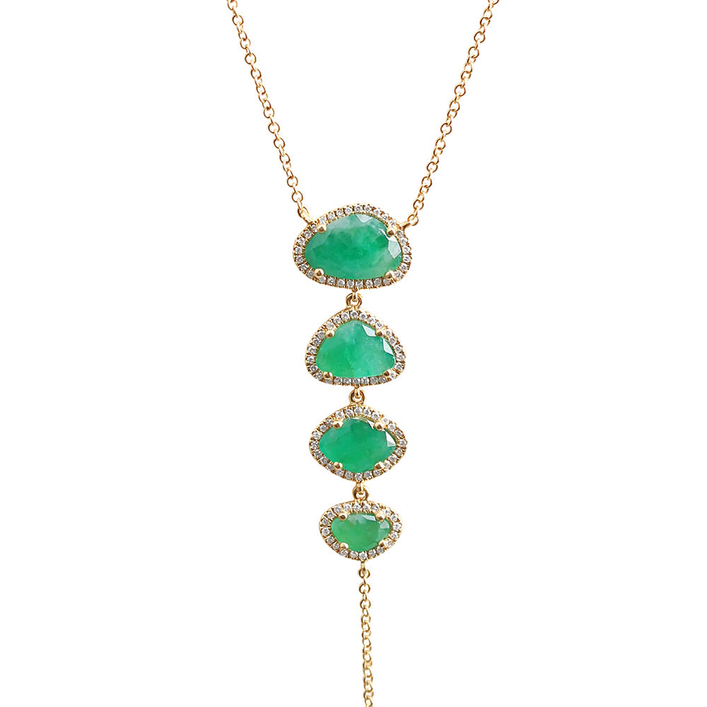 Emerald and Diamond Lariat Necklace