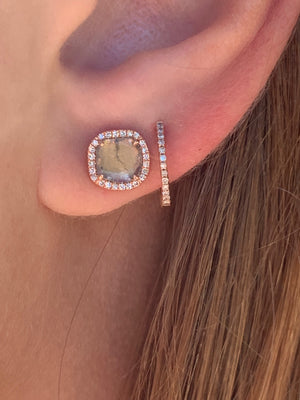 VICTORIA SLICED DIAMOND EARRINGS WITH PAVÉ SURROUNDING
