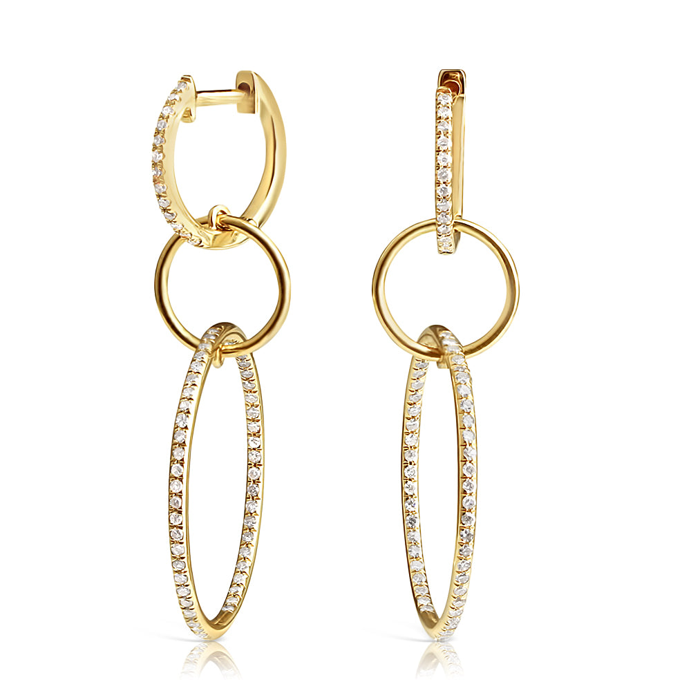 LOGAN TRIPLE DIAMOND DROP HOOPS