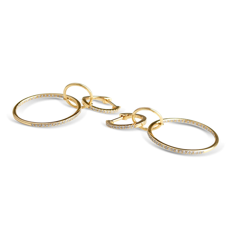 IN STOCK - LOGAN TRIPLE DIAMOND DROP HOOPS