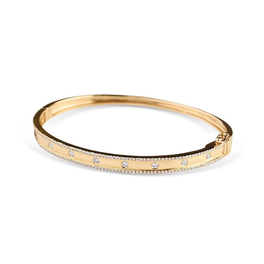 IN STOCK - DIAMOND CIGAR BAND BANGLE WITH INSET DIAMONDS