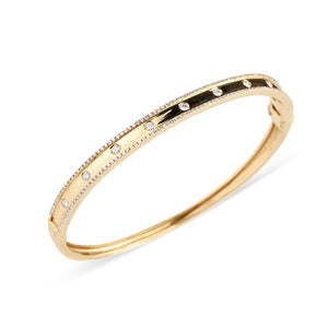 DIAMOND CIGAR BAND BANGLE WITH INSET DIAMONDS