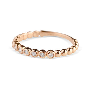 14K GOLD DIAMOND BEAD STACKING RING