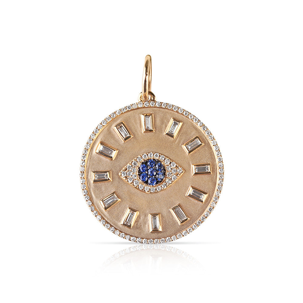 DIAMOND AND SAPPHIRE EVIL EYE TALISMAN PENDANT