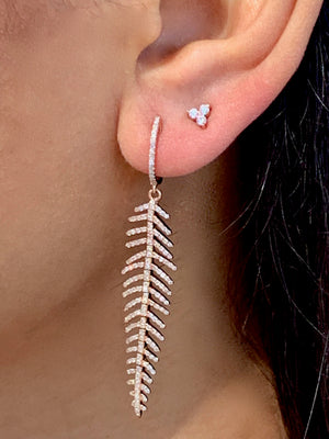 IN-STOCK -  DIAMOND FEATHER DROP EARRINGS
