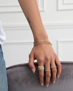 GOLD AND DIAMOND CHAIN LINK RINGS